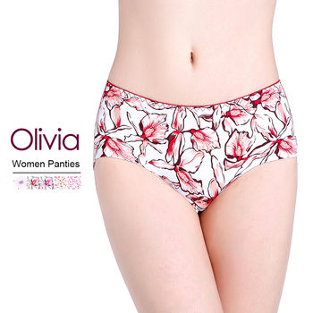 【Olivia】冰絲無痕印花女性內褲 (大花紅色)