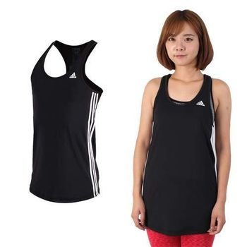 【ADIDAS】女運動背心-挖背背心 無袖 慢跑 路跑 瑜珈 愛迪達 黑白
