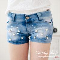 Candy小舖 新品特色款氣質休閒刷色珍珠貼鑽 牛仔短褲 S M L XL ~009682