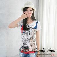 Candy小舖 新品特色款率性英倫 風格百搭T ^#45 Shirt ^#45 白色