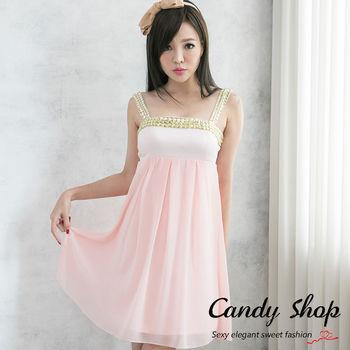 Candy小舖 新品特色款氣質甜美平口閃亮寶石燈籠造型洋裝(白/銀/黑/淺粉/杏)五色-0078490