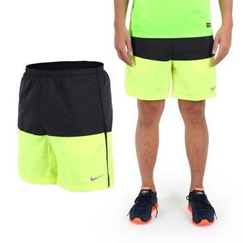 【NIKE】男運動短褲 -梭織 慢跑 路跑 黑螢光黃