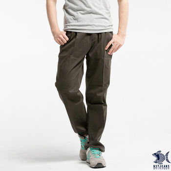 【NST Jeans】002(8871) 褐色直紋打摺休閒長褲(中高腰寬版)  【此款大尺碼 至40腰】