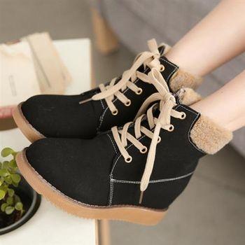 【TW Shoes】綁帶內裡鋪毛內增高工程短靴(K137A1745)