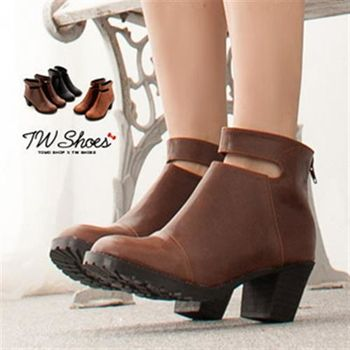 【TW Shoes】鏤空後面拉鍊素面短靴-零碼36,39(K116C1696)