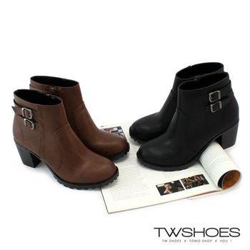 【TW Shoes】素面皮帶釦側拉鍊中跟短靴【K117CE9013】