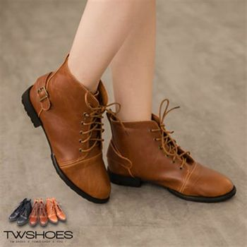 【TW Shoes】仿舊皮革綁帶騎士短靴【K127B2888】