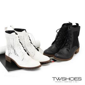 【TW Shoes】雕花綁帶蕾絲低跟中筒靴(K128BEQ020)
