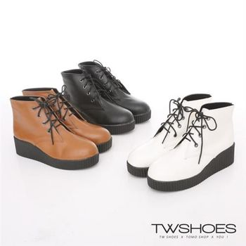 【TW Shoes】素面綁帶短靴(K116I1677)
