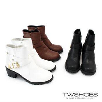 【TW Shoes】率性素色皮革側釦環拉鍊中跟短靴(K127CEQ013)