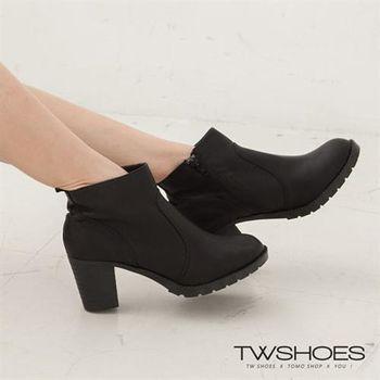 【TW Shoes】素面側面拉鍊短靴【K116C1614】