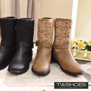 【TW Shoes】蕾絲拼接金扣側拉鍊中筒靴【K128B3228】