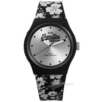 Superdry 極度乾燥 / SYL177B / 特色小碎花品牌LOGO矽膠手錶 銀x黑 38mm