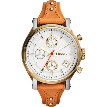 FOSSIL 雅典女仕計時腕錶-銀/38mm ES3615