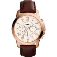 FOSSIL Grant 旗艦計時腕錶~玫塊金框x咖啡 44mm FS4991