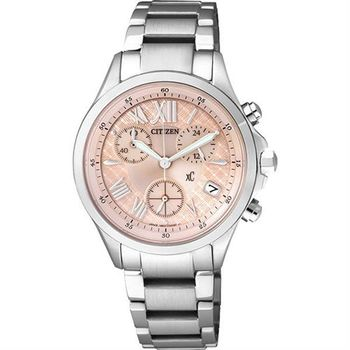 CITIZEN xC 光動能羅馬戀人計時腕錶-粉橘/32mm FB1400-51W