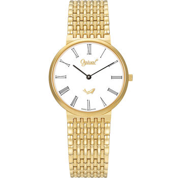 Ogival 瑞士愛其華  似水時光超薄石英腕錶-金/34mm  385-021MK