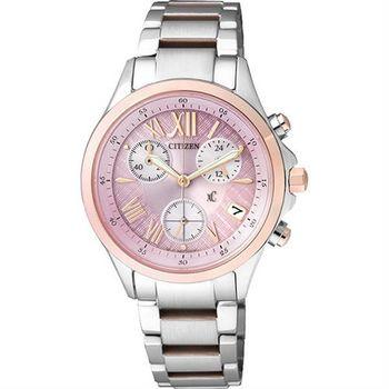 CITIZEN xC 光動能羅馬戀人計時腕錶-粉x玫瑰金/32mm FB1404-69W