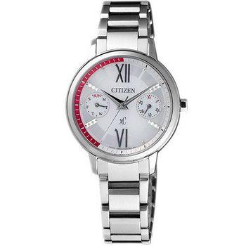 CITIZEN xC 海派甜心光動能時尚腕錶-銀白/30mm FD1010-53A