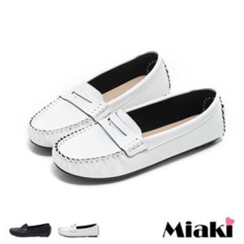 【Miaki】MIT 樂福鞋日雜皮質簡約平底休閒包鞋(白色 / 黑色)