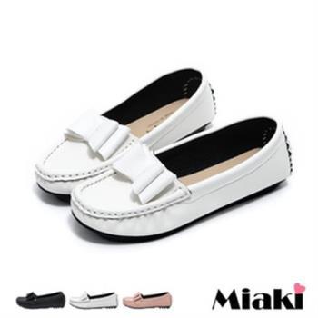 【Miaki】MIT 樂福鞋日雜皮質蝴蝶結平底休閒包鞋(粉色 / 白色 / 黑色)
