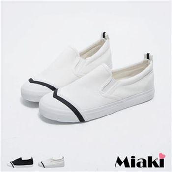 【Miaki】休閒鞋韓簡約低調拼接平底懶人包鞋(白色 / 黑色)