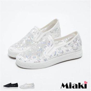 【Miaki】休閒鞋韓甜美花朵亮片透膚平底懶人包鞋(白色 / 黑色)