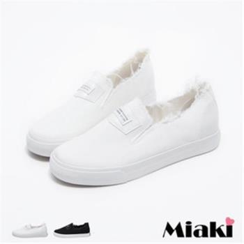 【Miaki】休閒鞋韓率性抽鬚平底懶人包鞋(白色 / 黑色)