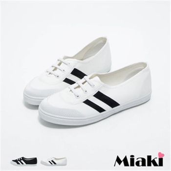 【Miaki】MIT 休閒鞋美式復古條紋平底包鞋(白色 / 黑色)