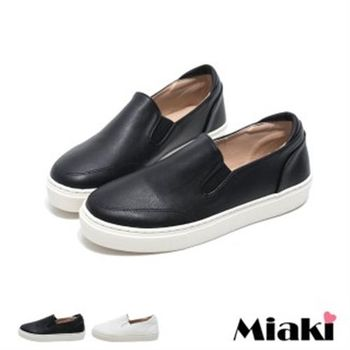 【Miaki】MIT 休閒鞋韓簡約車線厚底懶人包鞋(白色 / 黑色)