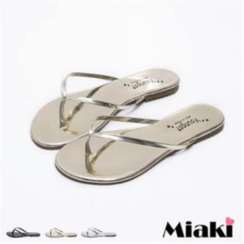 【Miaki】MIT 涼鞋韓皮質純色防滑平底夾腳涼拖(銀色 / 金色 / 黑色)