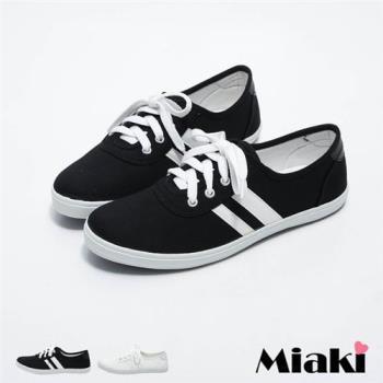 【Miaki】MIT 休閒鞋韓學院百搭雙條紋防滑平底包鞋(黑白色 / 白色)