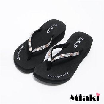 【Miaki】MIT 涼鞋韓寶石水鑽素面防滑厚底夾腳涼拖(黑色)