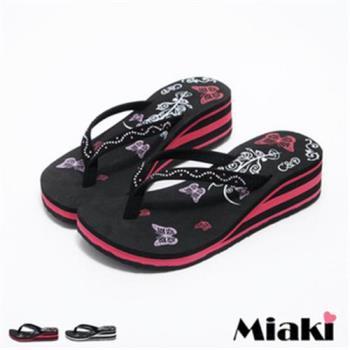 【Miaki】MIT 涼鞋韓水鑽花紋防滑厚底夾腳涼拖(黑色 / 紅色)