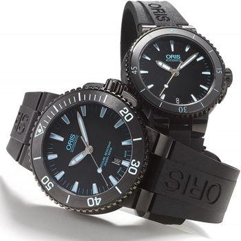 Oris Aquis 潛水機械對錶-鍍黑x藍/43+36mm 0173376534725-0742634BEB+0173376524725-0741834B