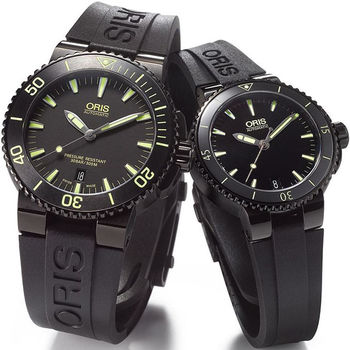Oris Aquis 潛水機械對錶-鍍黑x黃/43+36mm 0173376534722-0742634BEB+0173376524722-0741834B