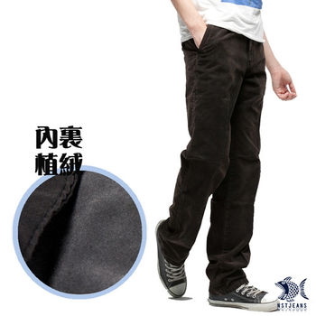 【NST Jeans】390(5319) 棉絨舒適深咖啡系休閒褲 (中腰)