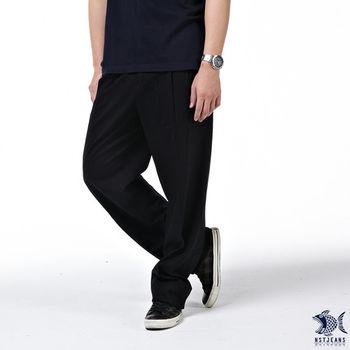 【NST Jeans】002(8872) 機能竹籤纖維 風尚黑 打摺休閒長褲(中高腰寬版) 熟男/斜口袋  【此款大尺碼 至40腰】