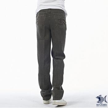 【NST Jeans】390(5420) 嚴選灰褐色直紋 精梳棉休閒長褲(中腰)  【此款大尺碼 至40腰】