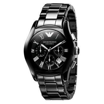 ARMANI 經典陶瓷三眼計時腕錶-黑/43mm AR1400