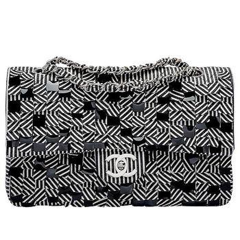 CHANEL 限量款經典2.55黑白條紋亮片雪花拼布COCO包(黑x白)