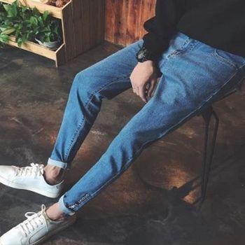 【協貿國際】字母貼佈牛仔褲韓版修身小腳褲男士水洗顯瘦長褲單件