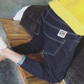【協貿國際】修身牛仔褲男時尚直筒休閒牛仔長褲彈力哈倫小腳褲單件
