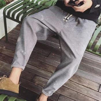 【協貿國際】復古潑漆休閒褲潮男寬鬆小腳褲單件