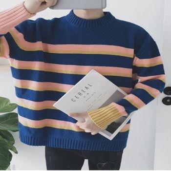 【協貿國際】寬鬆落肩袖針織衫男士條紋毛衣半高領線衫潮單件