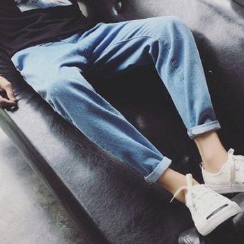 【協貿國際】男士長褲日系水洗淺色牛仔褲男單件