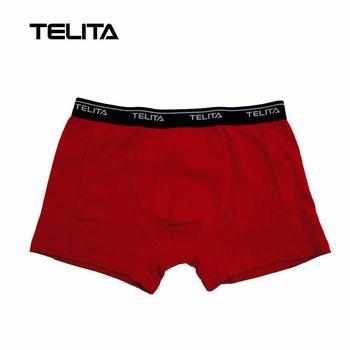 TELITA-男性內褲 彈性素色平口褲 紅色