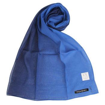 YSL 法式漸色薄棉圍巾-藍色