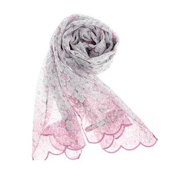 YSL 法式時尚復古風碎花薄棉圍巾-粉紅色