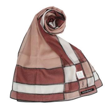 YSL 法式幾何方格薄棉圍巾-咖啡色